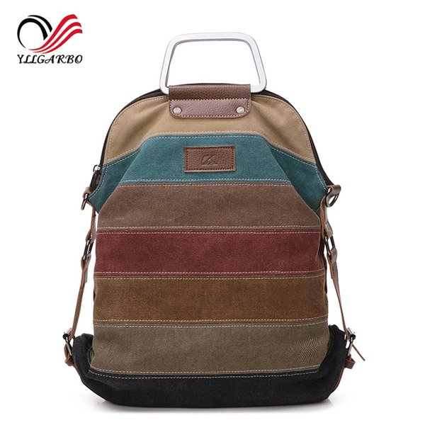 New Fashion Patchwork Block Women Canvas Backpack Rucksack Multifunction Girls Travle Portable Crossbody School Bag Backpacks #274534