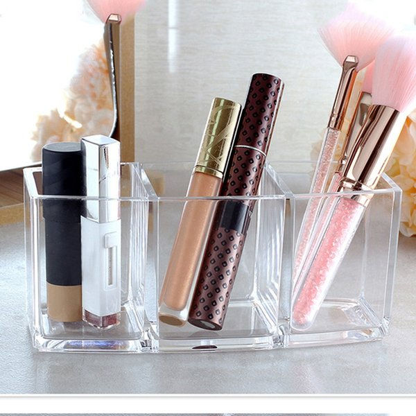 3 Slot Acrylic Makeup brush and Cosmetics Storage Box Makeup Brush Eyeliners Display Storage Holder Cosmetics Organizer