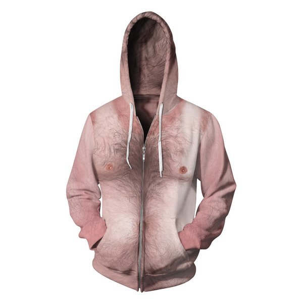 2019 New fashion Hot sexy male chest hair design Hoodies for women men Zippered digital printting Couple outfits Jackets cardigans coat