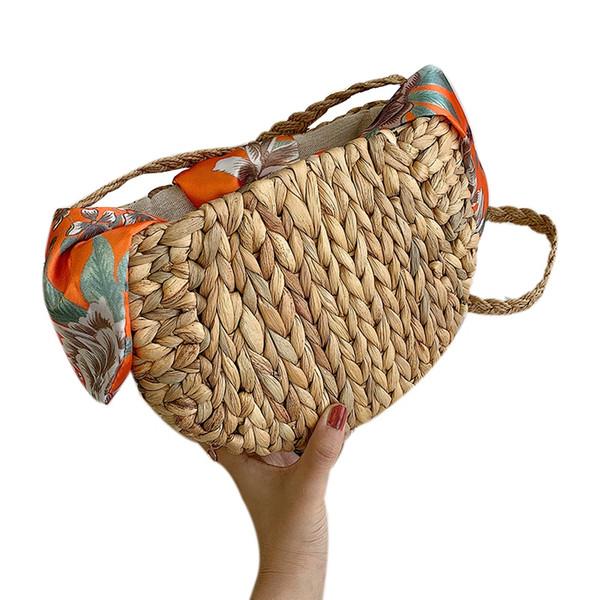 Neue nette Kürbis Gras Stroh-Beutel Schulter Woven Taschen Seidenschal Bow-Strand-Tasche für Frauen