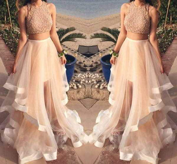 Two Pieces Lace Beaded Long Prom Dresses Floor Length Evening Dress Special Occasion Dresses Jewel Organza Evening Gowns