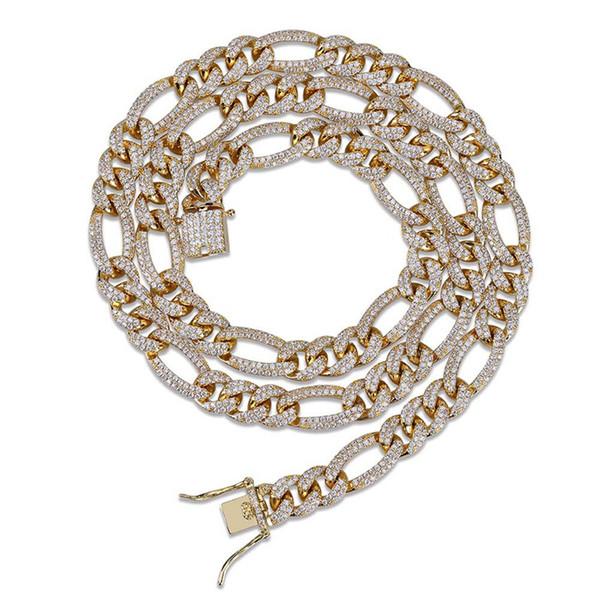 Zincir Kolye Takı Moda Yüksek Dereceli 18 K Altın Kaplama Link Zinciri Kolye Lüks Zarif Bling Zirkon Hip Hop Kolye LN101