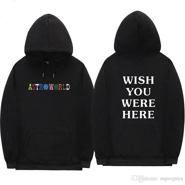 Travis Scott Astroworld WISH YOU WERE HERE hoodies fashion letter print Hoodie streetwear Man and woman Pullover Sweatshirt W2089