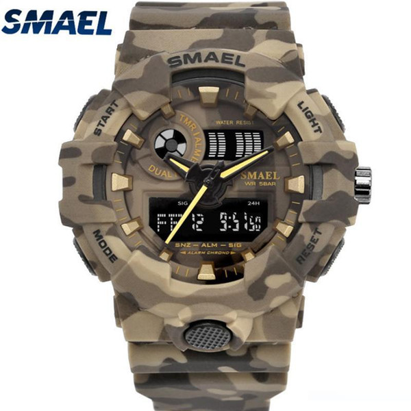 SMAEL Camouflage Men's Watches Sport Digital Watches LED Quartz Clock Men Wristwatch 8001 Waterproof Army Rubber Watch