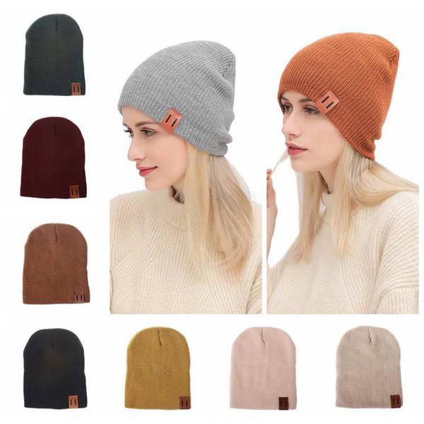 INS Winter Women Knitted Hat Warm Wool Hat Ladies Men unisex Adult Skull Beanie Solid Female Outdoor Caps LJJA2781