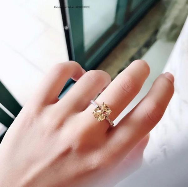 Prinzessin Cut Schmuck 925 Silber Weiß Simuliert Diamant Hochzeit Benutzerdefinierte Ringe Für Frauen Geschenk Größe