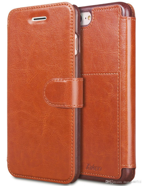 For Iphone 6 8 6 Plus Leather Wallet Case With Cards Slot Metal Magnetic Slim Fit Heavy Duty Pu Flip Case Brown