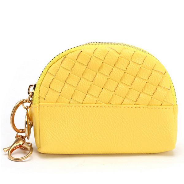 Mini doce cor trança carteira coin purse zipper mulheres crianças meninas pequeno saco de embreagem mudar carteira com anel de pressão