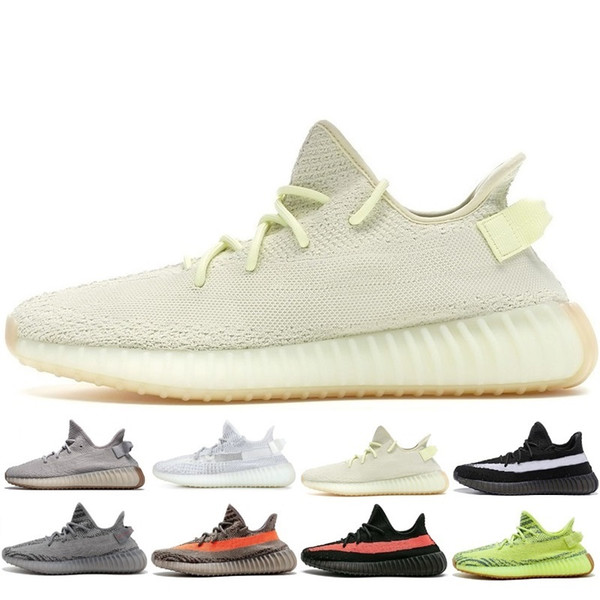 best selling Kanye West V2 sport shoes Black Bred Orange Grey Dark Green Cream White designer shoes Womens Mens sneakers Casual Shoes