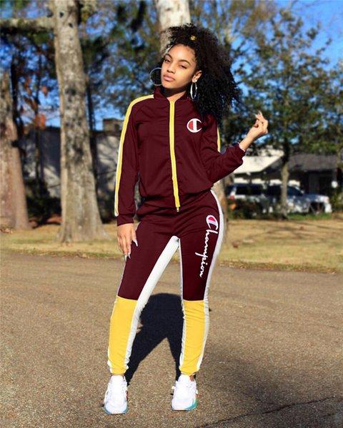Женщины чемпионы спортивный костюм с длинным рукавом молнии куртка толстовка + брюки леггинсы 2 шт. Костюм бренд пальто наряды бейсбол одежда костюм 2019