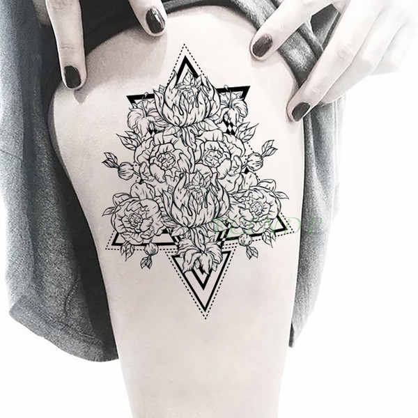 Waterproof Temporary Tattoo Sticker rose flower triangle fake tatto flash tatoo large Stickers art tattoos for girl women men