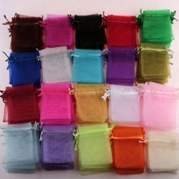 top popular MIC 100pcs white , Royal blue , pink Etc. 20-color Organza Gift Bags , 7x9cm With Drawstring Wedding Party Christmas Favor Gift Bags 2020