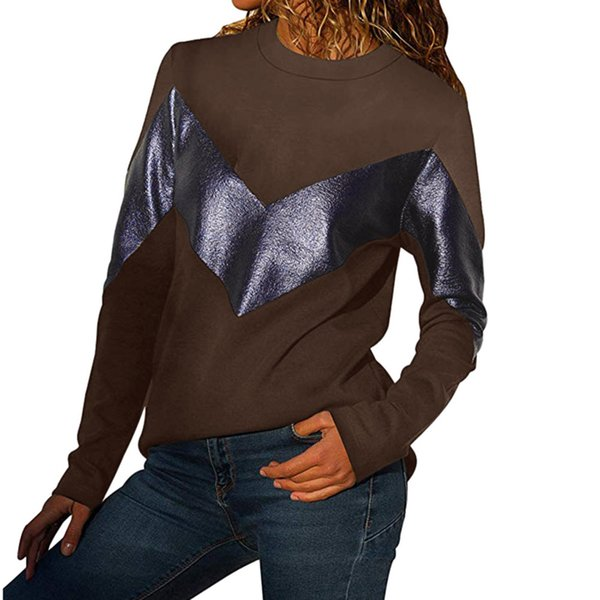 Feitong Women's Panel Top Round Neck Long Sleeve Leather Sweatshirt Comfortable Patchwork fashion Casual tops New Arrival 2019