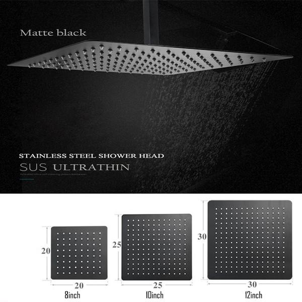 Черный круглый и квадратный дождь из нержавеющей стали душевая головка ультратонкий 2 мм 8/9/10 / 12inch Choice Ванная комната настенный потолок