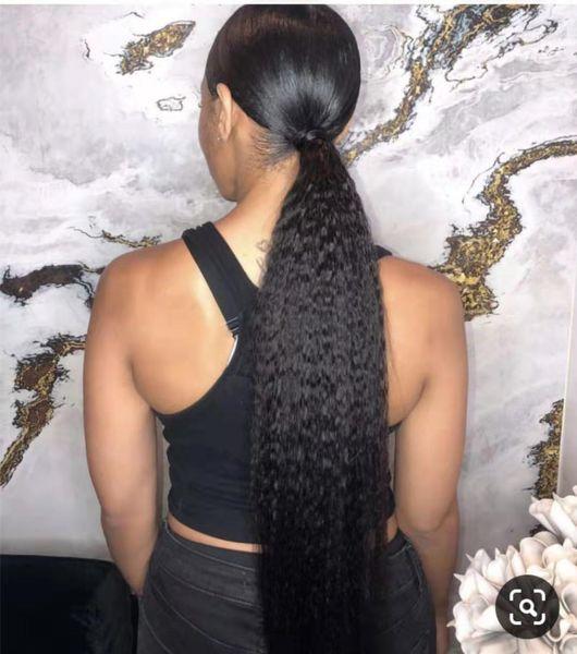 De alta qualidade cauda Kinky em linha reta tecelagem rabo de cavalo brasileiro extensão humana yaki Natural cordão pônei para 160g menina negra