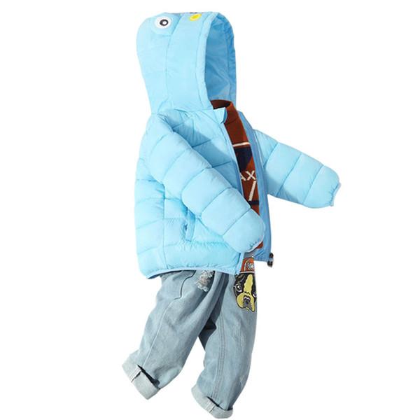Girls Winter Coats Baby Boy Girl Cute Frog Down Cotton Jacket Hooded Warm Outerwear Coat New Fashion Children Parkas