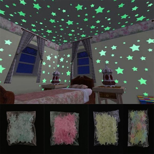 top popular 500pcs 3D Stars Glow In The Dark Wall Stickers Luminous Fluorescent Wall Stickers For Kids Baby Room Bedroom Ceiling Home Decor DA380 2021