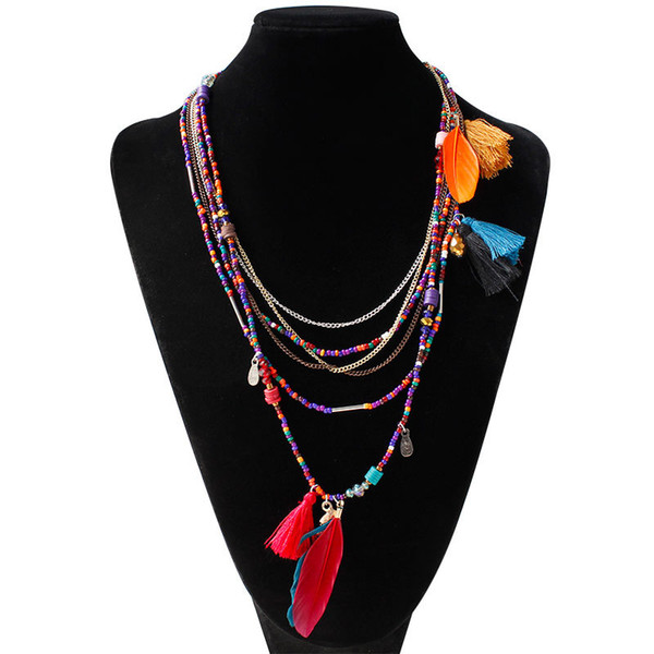 Fashion Colorful Bohemian Tassel Multilayer Beads Necklace Feather Pendant Women Long Sweater Necklaces Party Jewelry Lovers Gifts
