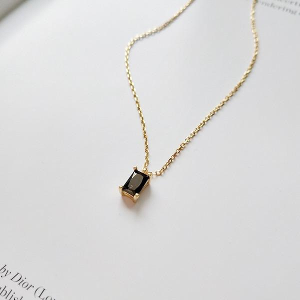 925 pendentifs carrés en argent zircon noir Collier de conception simple mode collier sauvage pour les femmes charmes bijoux de mode