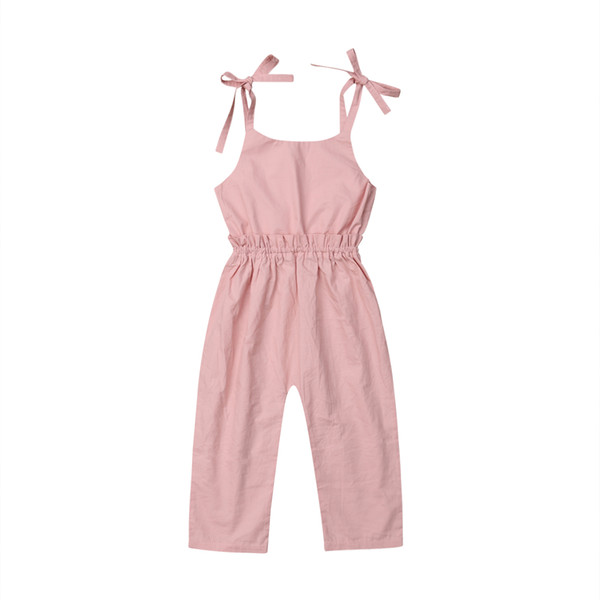 Toddler Kid Baby Girl Sleeveless O-Neck 2019 New Summer Strap Solid Romper Jumpsuit Outfit Clothes Set