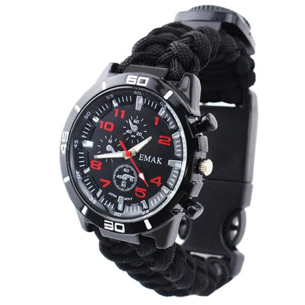 Outdoor Watch Multi Functional Braided Paracord Survival Whistle Compass Thermometer Rope Cutter Waterproof Wristwatch