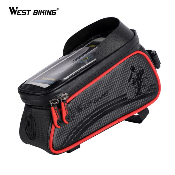 WEST BIKING Waterproof Cycling Bags Handlebar MTB Bicycle Panniers Front Frame Touch Screen Mobile Phone Accessories Bike Basket