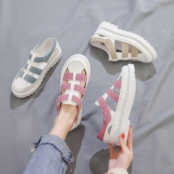 2019 été nouvelles sandales de mode pour femmes rose bleu beige plateforme talon talon fermé sandales pour femmes