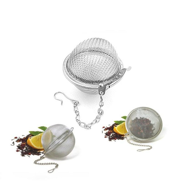 top popular New Tea Infuser Stainless Steel Locking Tea Pot Infuser Reusable Sphere Mesh Tea Strainers Kitchen Drinking Accessories Ball with dhl ship 2019