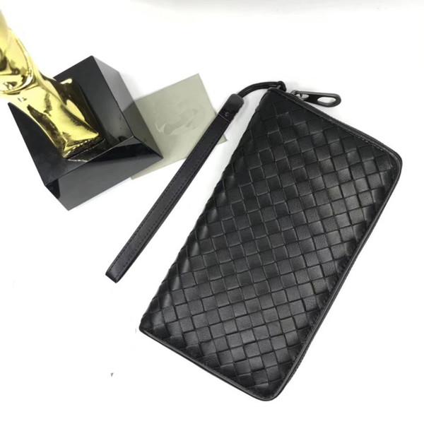High Quality!Wholesale Designer Large Zipper Around Wallet Men's Passport Case Genuine Leather Document Case VN Black Wallet Wrist Pen BAG