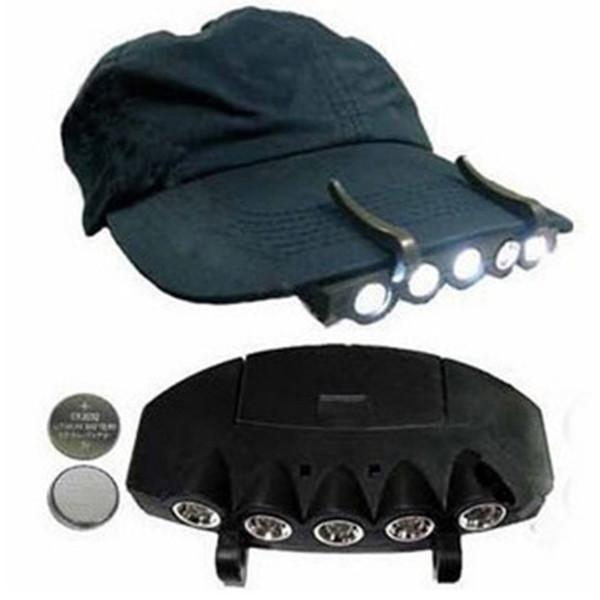 Горячие 5LED Super Bright Cap света фар HeadLamp Глава фонарик Глава Cap Hat Свет клип на свет Рыбалка HEAD LAMP