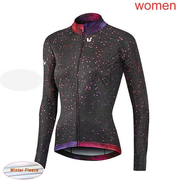 Femmes 2019 LIV équipe cyclisme hiver thermique polaire jersey vélo de route chemises à manches longues en plein air Sports Uniforme racing vêtements de vélo 60306