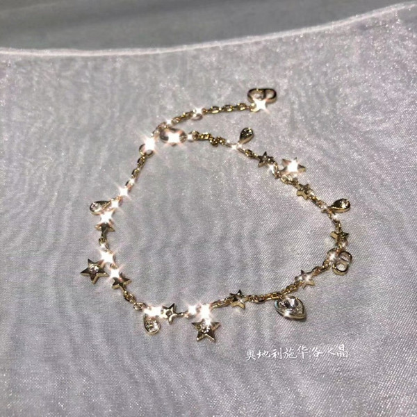 2019 Latest model lady women charming link Chain bracelets fashion Heart-shaped crystal five-pointed star decoration