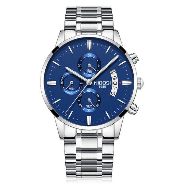 montres pour hommes montres de marque imperméables en verre enduit hommes regardent bracelet en métal montre à quartz six-broches 6-yeux NE967-1