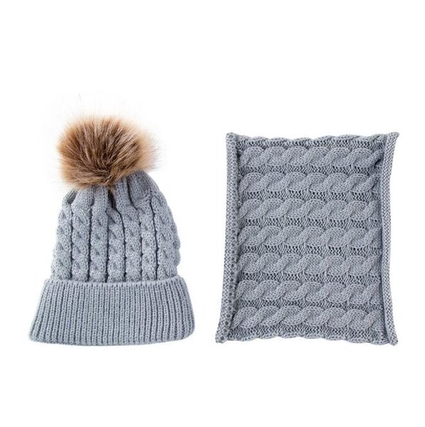5 Colors Baby Cap Scarf Set Toddler Winter Warm Fur Ball Hats O Ring Scarves Kids Knitted Beanies Scarf Neck Set CCA10883 50set