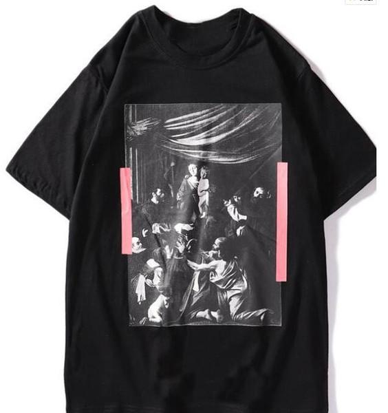 2019 Designer New Brand Religious Oil Painting Arrow Round Neck Pullover Men's Short Sleeve T-Shirt Men and Women Couple T-Shirt Free Shippi