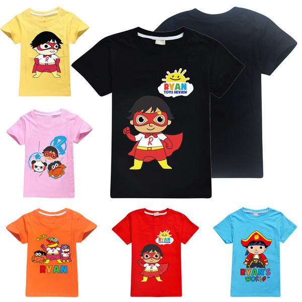 Ryan Oyuncaklar İnceleme Çocuklar Tee gömlek 3-14 t Çocuk Erkek Kız Pamuk T gömlek 6 Tasarımlar 9 Renkler Tees çocuklar giysi tasarımcısı DHL SS112