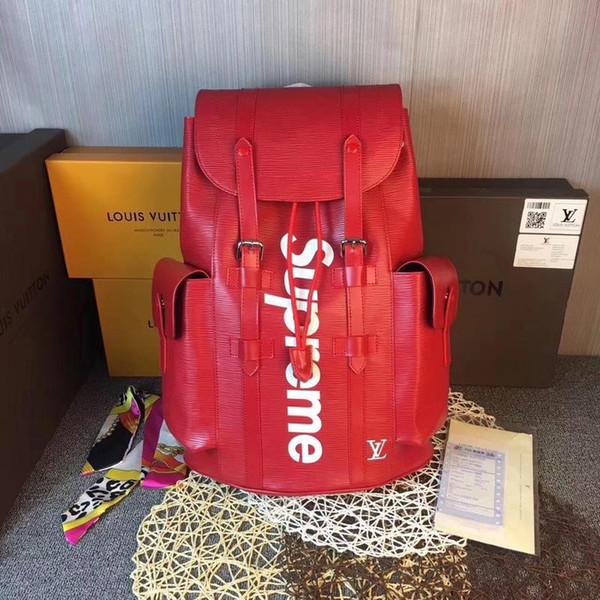 188 13 loui 13 vuitton 13 upreme red leather backpack men houlder bag 3aa travel bag women handbag tote me enger bag clutch