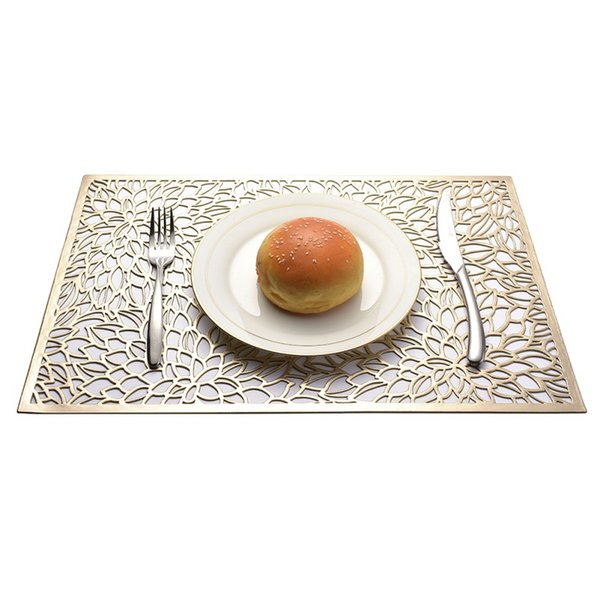 45*30cm Rectangular Hollow Placemat Gold Stamping Geometric Pattern PP Material Placemat Flower Shape Western Dinner Table