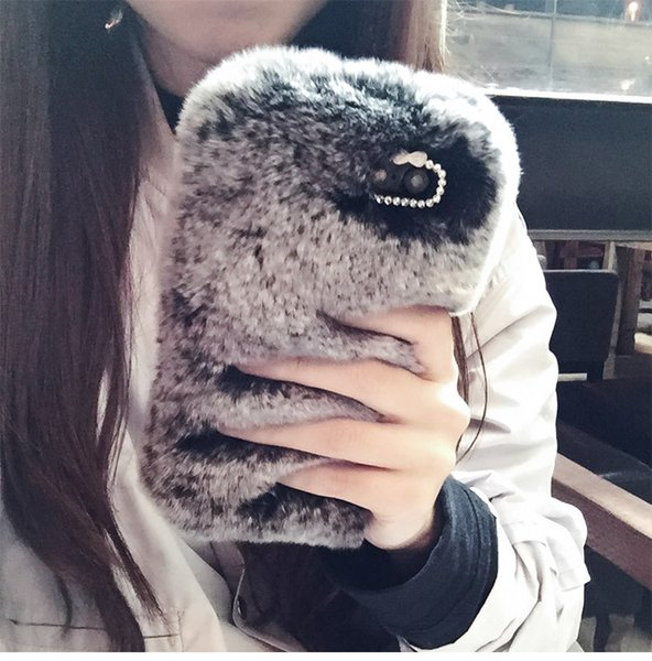 Luxury Warm 3D Rabbit Plush Fur Phone Case For iPhone X XS XR XS MAX 6 6S 7 8 Plus 9 Colours TPU PC Back Case Cover Shell