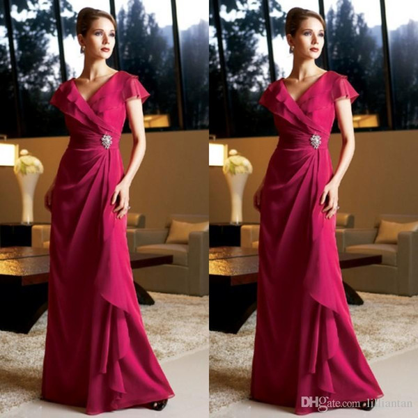 2019 Fuschia Mother's Dresses Long Formal Fuchsia Chiffon Mother of the Bride Gowns V Neck Cap Sleeves Crystals Wedding Guests Dress 68