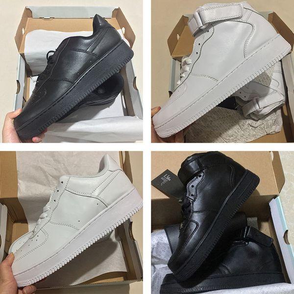 NIKE Air Force 1 Leather AF1 Высокое качество 2019 Fores Мужчины Женщины Low Cut One 1 Обувь All White Black Dunk Fored 1s Спортивная обувь Классический AF Fly Кроссовки вязаные