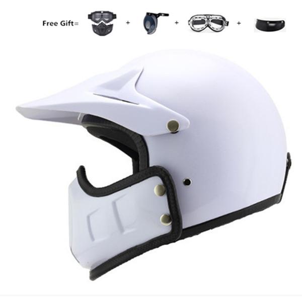 Casco de moto vintage Motocross Off Road Helmet, 3/4 Cara abierta Modular de cara completa, Jet For Cafe Racer, Scooter, Crusier, Chopper