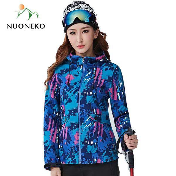NUONEKO Women Winter Hiking Jackets Softshell Fleece Coat Outdoor Camouflage Thermal Windbreaker Trekking Skiing Jackets JM14