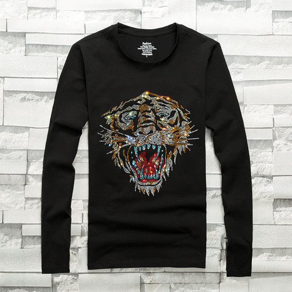 mens designer t shirts t shirt clothes of white clothing white long-sleeved T-shirt hot drilling bottoming shirt cotton youth compassion 3XL