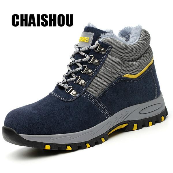 Sapatos Homens Botas de Trabalho Inverno Quente Ao Ar Livre Toe Cap Aço Anti-esmagamento Anti-piercing Ao Ar Livre Lace-up Sapatos de Segurança de Camurça de Vaca Cs-256MX190820
