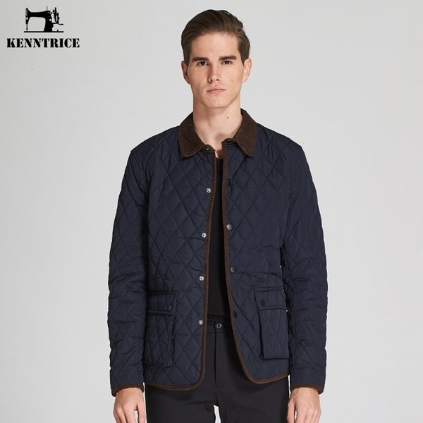 Kenntrice Winter Parka Men`s Jacket Brand Blue Thin Outwear Quilted Coat Male Casual Jackets Autumn Button Breasted
