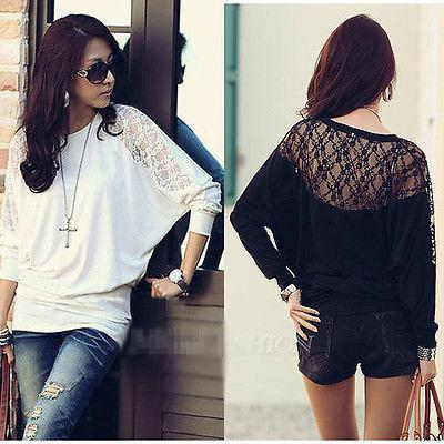 New Fashion Women's Ladies Batwing Loose Blause Top shirt Dolman Lace Long Sleeves HOT Hollow out black white lace women tops