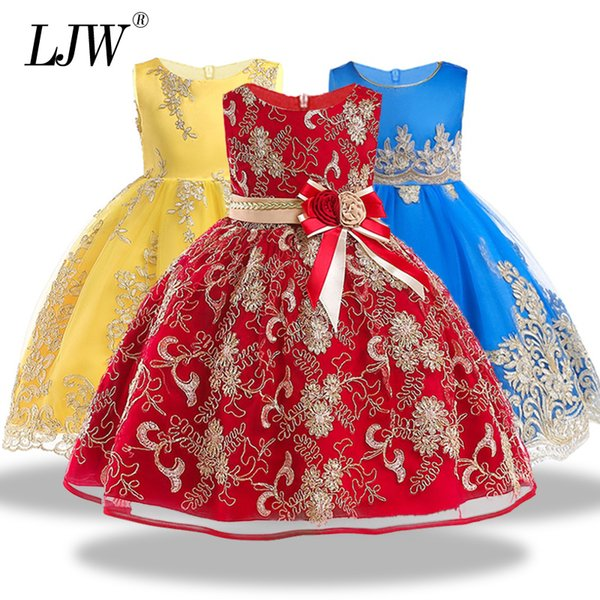 High Quality Lace Sequined Big Bow Tutu Princess Dress For Girl 2018 Summer Girl Wedding Party Dress Size 3-12 Years Old J190619
