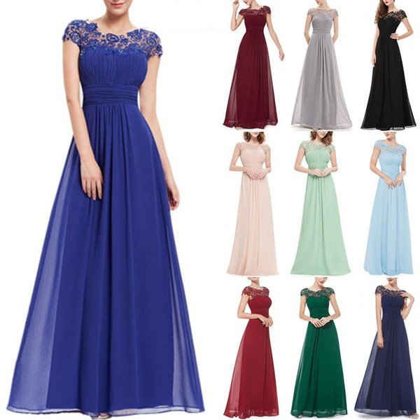 2019 European elegant temperament solid color sexy bud silk yarn round neck short-sleeved evening dress party skirt, support mixed batch