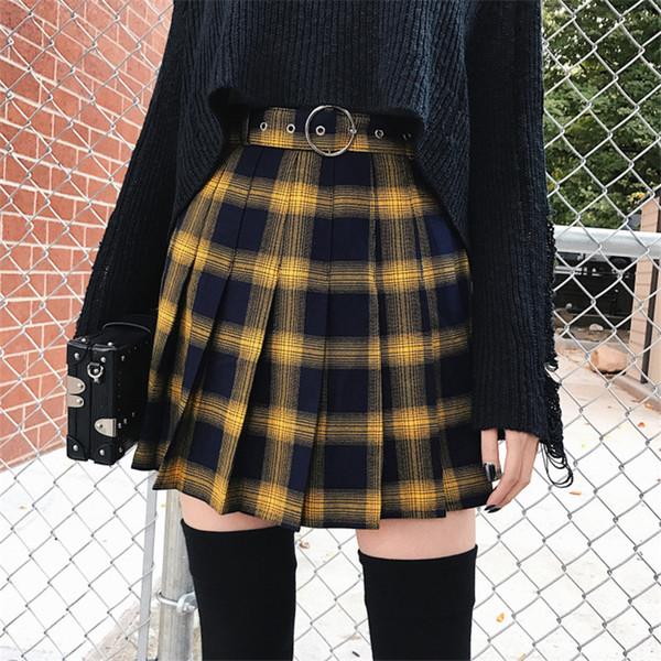 SVOKOR Saia das Mulheres Outono Inverno Harajuku Bonito Amarelo Preto Vermelho Xadrez Saia Plissada Estilo Punk Cintura Alta Feminino